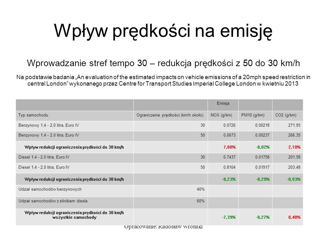 """Opracowanie: Radosław Wroński Wpływ prędkości na emisję Wprowadzanie stref tempo 30 – redukcja prędkości z 50 do 30 km/h Na podstawie badania """"An eval"""