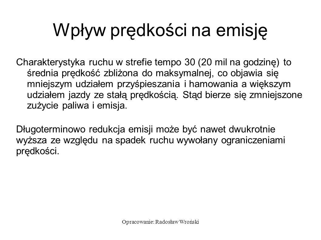 Opracowanie: Radosław Wroński Wpływ prędkości na emisję Charakterystyka ruchu w strefie tempo 30 (20 mil na godzinę) to średnia prędkość zbliżona do m