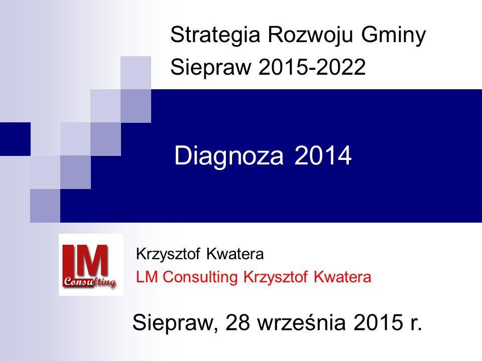 Diagnoza 2014 Strategia Rozwoju Gminy Siepraw 2015-2022 Krzysztof Kwatera LM Consulting Krzysztof Kwatera Siepraw, 28 września 2015 r.