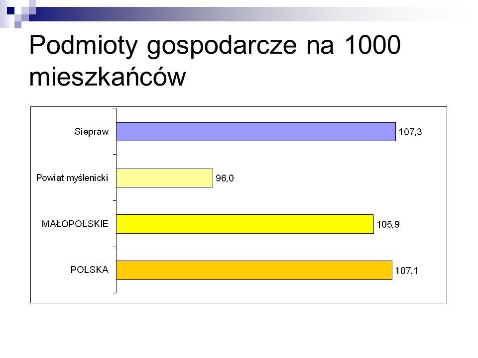 Podmioty gospodarcze na 1000 mieszkańców