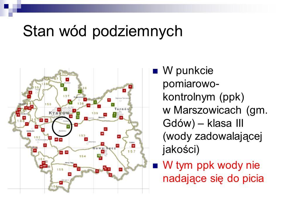 Stan wód podziemnych W punkcie pomiarowo- kontrolnym (ppk) w Marszowicach (gm.