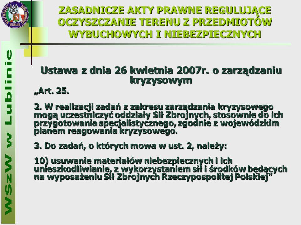 """Ustawa z dnia 26 kwietnia 2007r. o zarządzaniu kryzysowym """"Art."""
