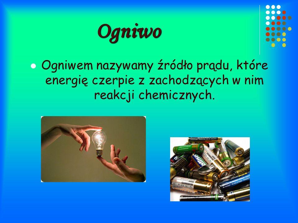 Ogniwo Ogniwem nazywamy źródło prądu, które energię czerpie z zachodzących w nim reakcji chemicznych.