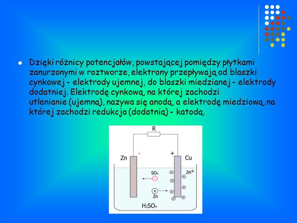 Dzięki różnicy potencjałów, powstającej pomiędzy płytkami zanurzonymi w roztworze, elektrony przepływają od blaszki cynkowej - elektrody ujemnej, do blaszki miedzianej - elektrody dodatniej.