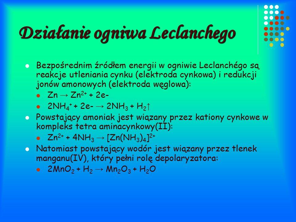 Działanie ogniwa Leclanchego Bezpośrednim źródłem energii w ogniwie Leclanchégo są reakcje utleniania cynku (elektroda cynkowa) i redukcji jonów amonowych (elektroda węglowa): Zn → Zn 2+ + 2e- 2NH 4 + + 2e- → 2NH 3 + H 2 ↑ Powstający amoniak jest wiązany przez kationy cynkowe w kompleks tetra aminacynkowy(II): Zn 2+ + 4NH 3 → [Zn(NH 3 ) 4 ] 2+ Natomiast powstający wodór jest wiązany przez tlenek manganu(IV), który pełni rolę depolaryzatora: 2MnO 2 + H 2 → Mn 2 O 3 + H 2 O