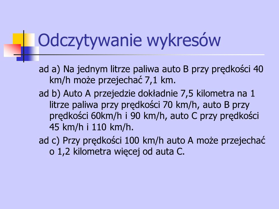 ad a) Na jednym litrze paliwa auto B przy prędkości 40 km/h może przejechać 7,1 km.
