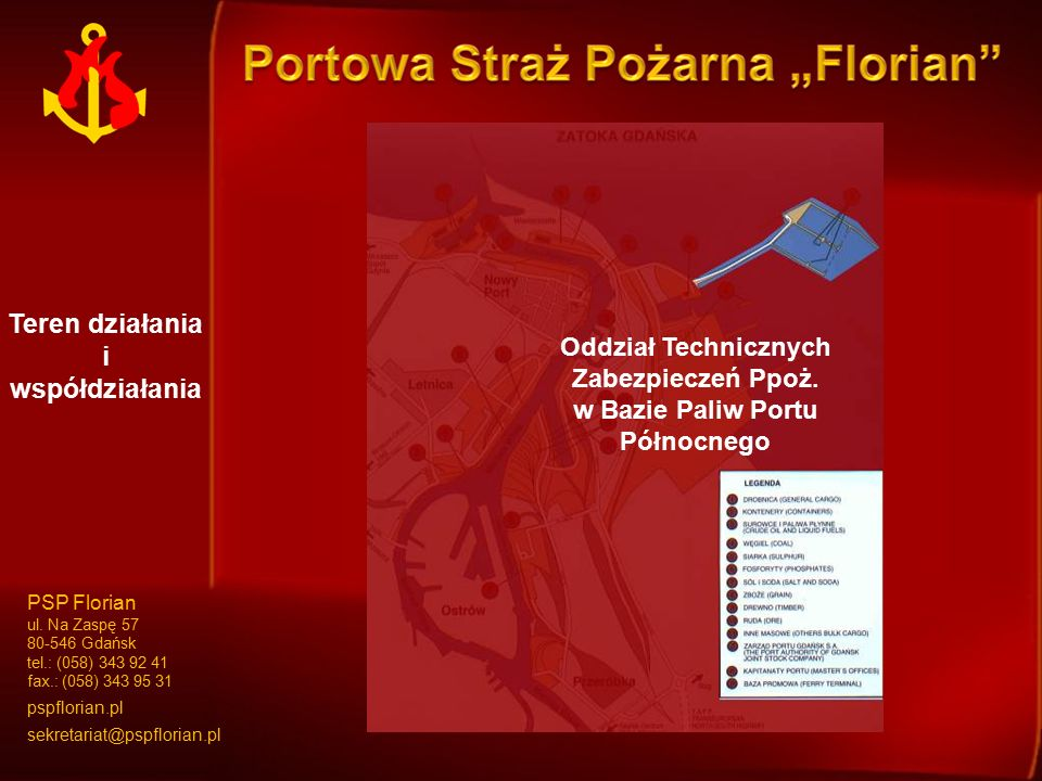 Teren działania i współdziałania Oddział I Oddział II Oddział Technicznych Zabezpieczeń Ppoż. w Bazie Paliw Portu Północnego PSP Florian ul. Na Zaspę