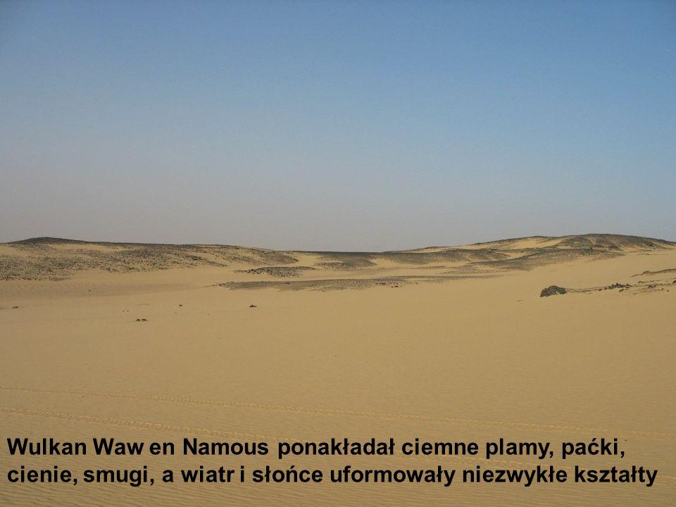 Wulkan Waw en Namous ponakładał ciemne plamy, paćki, cienie, smugi, a wiatr i słońce uformowały niezwykłe kształty