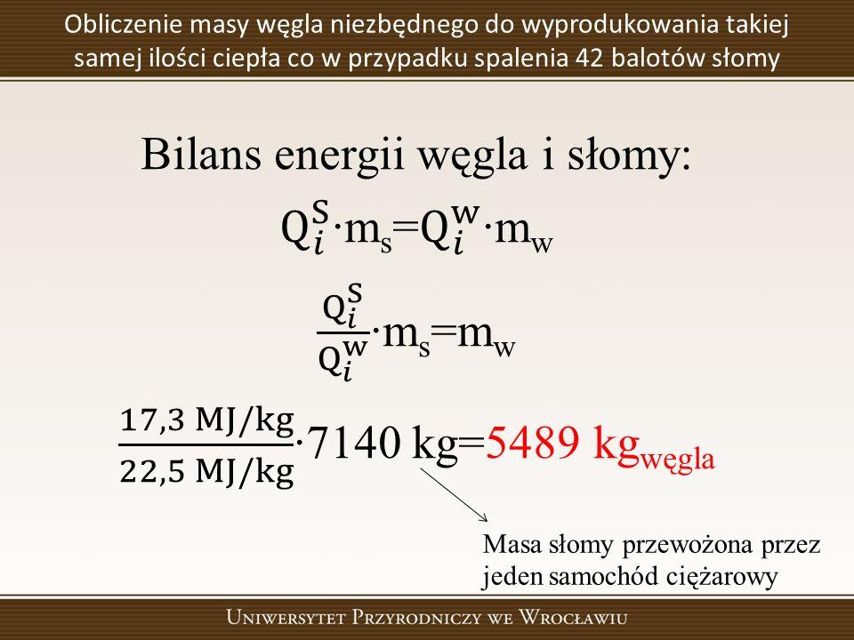 Obliczenie masy węgla niezbędnego do wyprodukowania takiej samej ilości ciepła co w przypadku spalenia 42 balotów słomy Masa słomy przewożona przez je