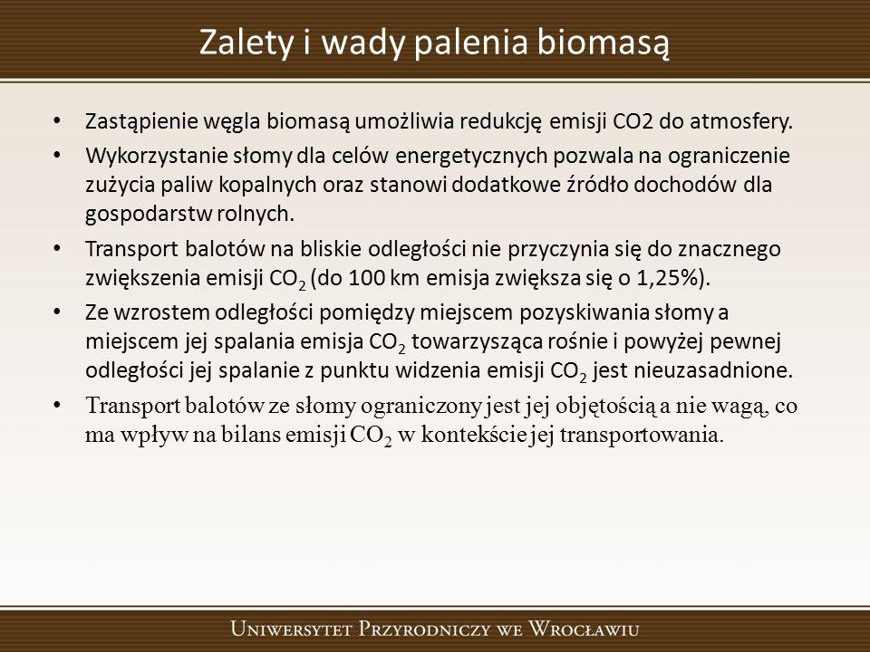 Zalety i wady palenia biomasą Zastąpienie węgla biomasą umożliwia redukcję emisji CO2 do atmosfery. Wykorzystanie słomy dla celów energetycznych pozwa