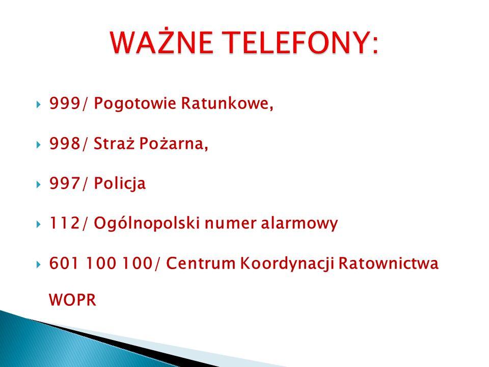  999/ Pogotowie Ratunkowe,  998/ Straż Pożarna,  997/ Policja  112/ Ogólnopolski numer alarmowy  601 100 100/ Centrum Koordynacji Ratownictwa WOPR