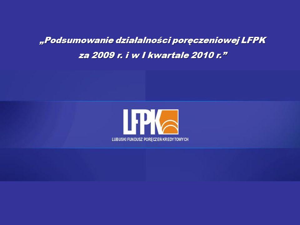 """""""Podsumowanie działalności poręczeniowej LFPK za 2009 r. i w I kwartale 2010 r."""