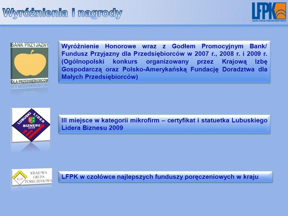 Wyróżnienie Honorowe wraz z Godłem Promocyjnym Bank/ Fundusz Przyjazny dla Przedsiębiorców w 2007 r., 2008 r.