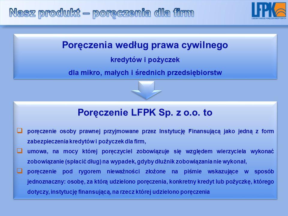 Poręczenia według prawa cywilnego kredytów i pożyczek dla mikro, małych i średnich przedsiębiorstw Poręczenia według prawa cywilnego kredytów i pożyczek dla mikro, małych i średnich przedsiębiorstw Poręczenie LFPK Sp.