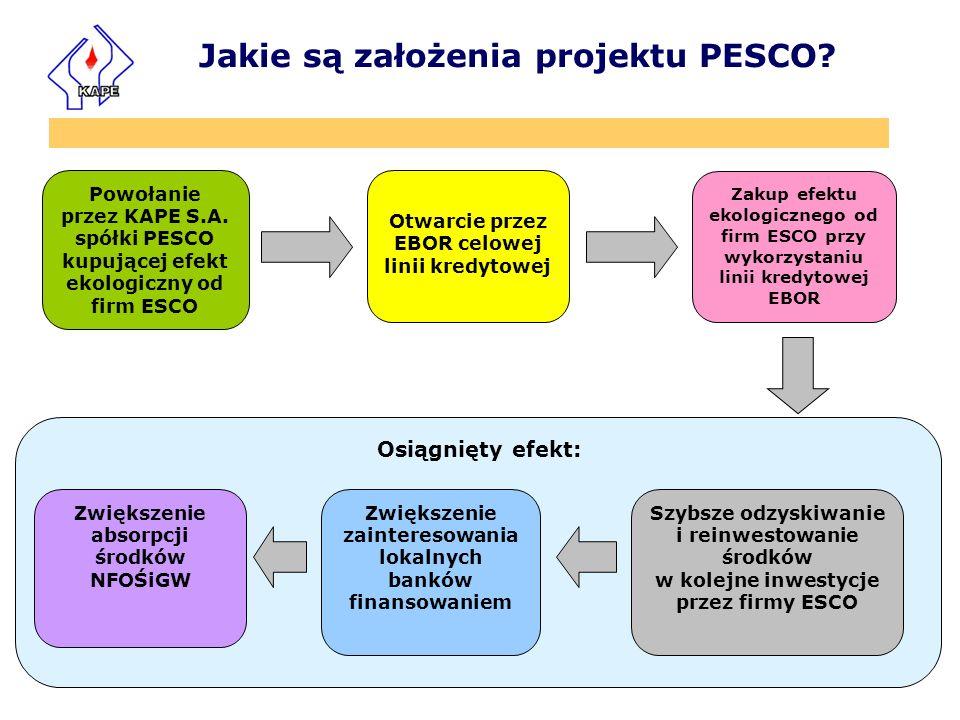 Osiągnięty efekt: Powołanie przez KAPE S.A. spółki PESCO kupującej efekt ekologiczny od firm ESCO Zakup efektu ekologicznego od firm ESCO przy wykorzy