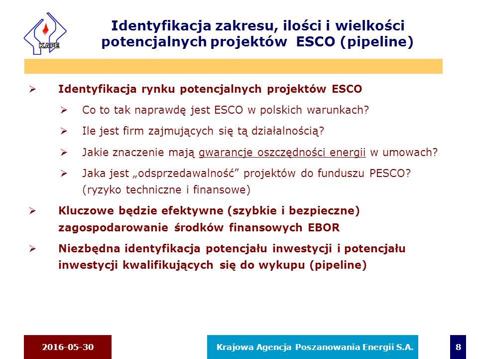 2016-05-30 Krajowa Agencja Poszanowania Energii S.A. 8 Identyfikacja zakresu, ilości i wielkości potencjalnych projektów ESCO (pipeline)  Identyfikac