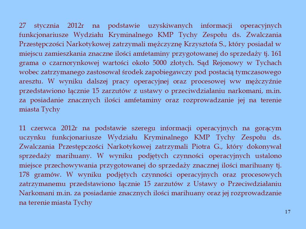 17 27 stycznia 2012r na podstawie uzyskiwanych informacji operacyjnych funkcjonariusze Wydziału Kryminalnego KMP Tychy Zespołu ds. Zwalczania Przestęp