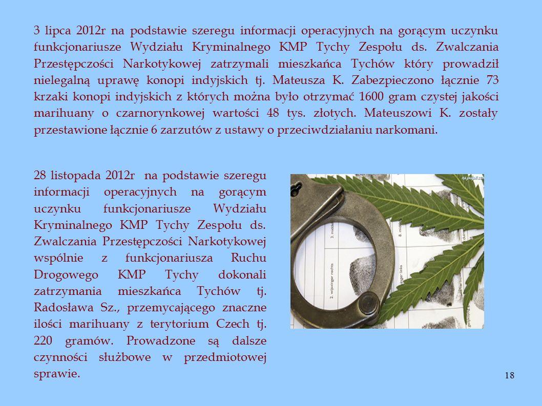 18 3 lipca 2012r na podstawie szeregu informacji operacyjnych na gorącym uczynku funkcjonariusze Wydziału Kryminalnego KMP Tychy Zespołu ds. Zwalczani