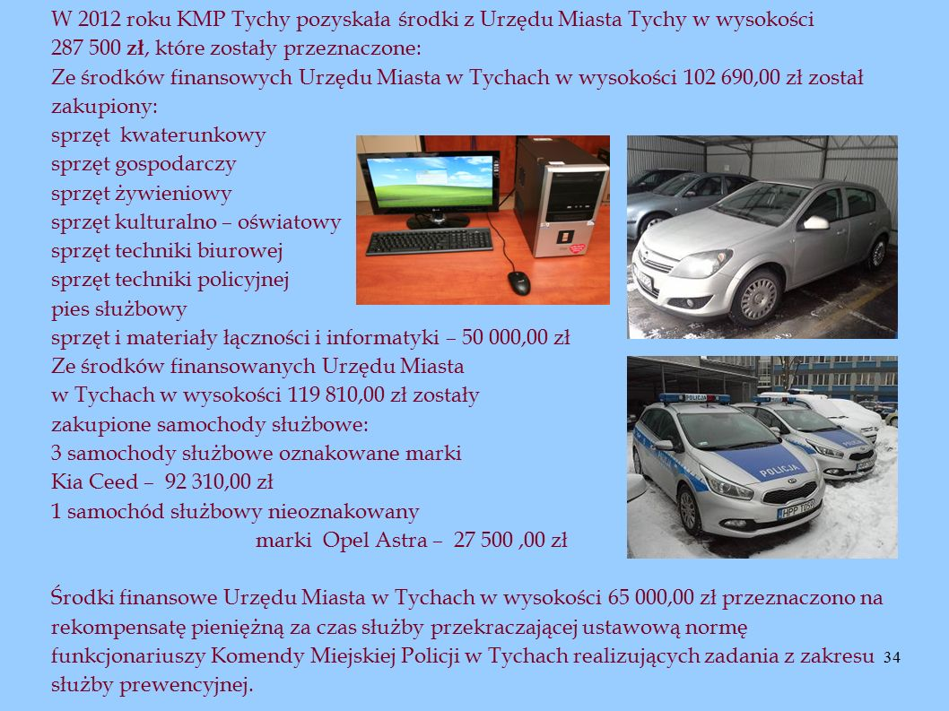 34 W 2012 roku KMP Tychy pozyskała środki z Urzędu Miasta Tychy w wysokości 287 500 zł, które zostały przeznaczone: Ze środków finansowych Urzędu Mias