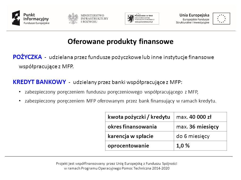 Projekt jest współfinansowany przez Unię Europejską z Funduszu Spójności w ramach Programu Operacyjnego Pomoc Techniczna 2014-2020 Oferowane produkty finansowe POŻYCZKA - udzielana przez fundusze pożyczkowe lub inne instytucje finansowe współpracujące z MFP.
