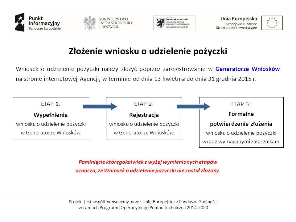 Projekt jest współfinansowany przez Unię Europejską z Funduszu Spójności w ramach Programu Operacyjnego Pomoc Techniczna 2014-2020 Złożenie wniosku o