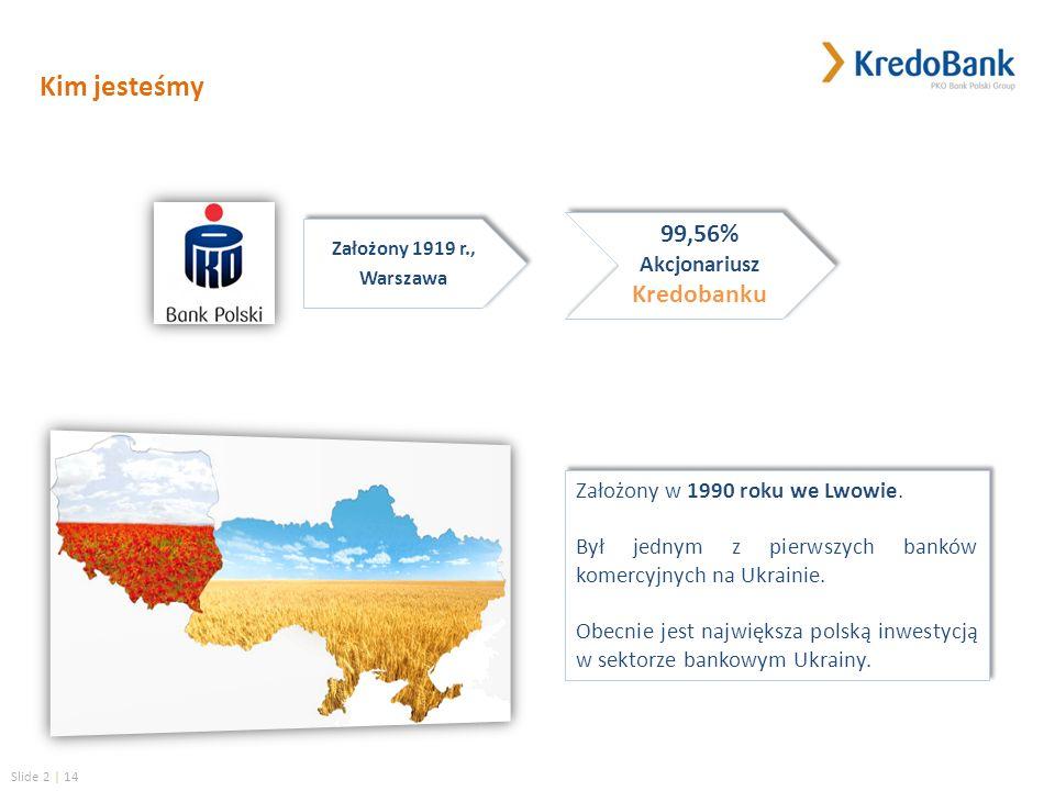 Slide 2 | 14 Kim jesteśmy 99,56% Akcjonariusz Kredobanku 99,56% Akcjonariusz Kredobanku Założony 1919 r., Warszawa Założony 1919 r., Warszawa Założony w 1990 roku we Lwowie.