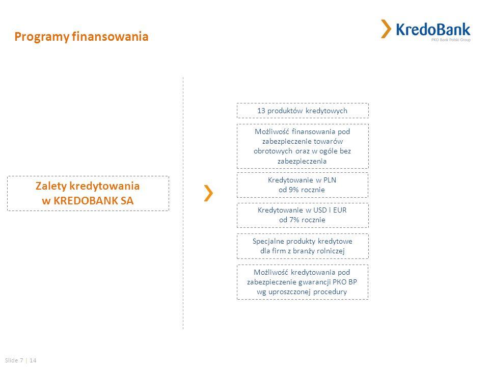Slide 7 | 14 Specjalne produkty kredytowe dla firm z branży rolniczej 13 produktów kredytowych Kredytowanie w PLN od 9% rocznie Możliwość kredytowania pod zabezpieczenie gwarancji РКО ВР wg uproszczonej procedury Programy finansowania Możliwość finansowania pod zabezpieczenie towarów obrotowych oraz w ogóle bez zabezpieczenia Kredytowanie w USD i EUR od 7% rocznie Zalety kredytowania w KREDOBANK SA