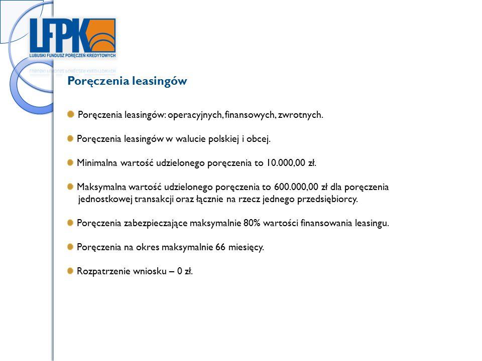 Poręczenia leasingów: operacyjnych, finansowych, zwrotnych.