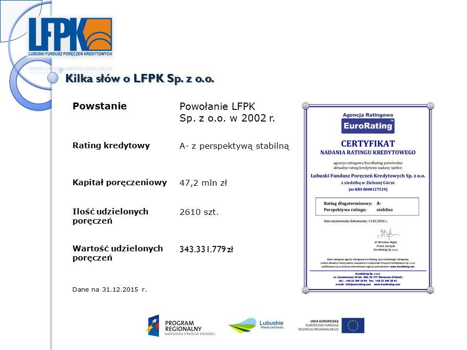 Adresaci oferty Mikro, małe i średnie przedsiębiorstwa, które: posiadają siedzibę na terytorium Polski, posiadają na terenie województwa lubuskiego siedzibę lub główne miejsce wykonywania działalności gospodarczej lub na tym terenie zamierzają przeprowadzić inwestycję, prowadzą działalność co najmniej 6 miesięcy, uzyskają w banku lub firmie leasingowej współpracującymi z LFPK pozytywną decyzję udzielenia kredytu, pożyczki lub leasingu, nie posiadają zaległości w ZUS i US.