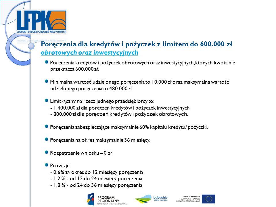 Poręczenia dla kredytów i pożyczek z limitem do 600.000 zł obrotowych oraz inwestycyjnych Poręczenia kredytów i pożyczek obrotowych oraz inwestycyjnych, których kwota nie przekracza 600.000 zł.