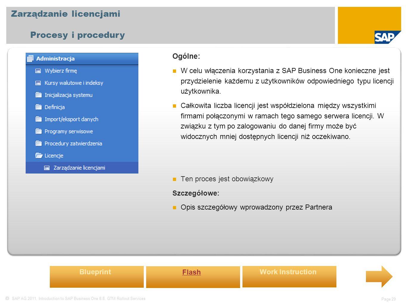  SAP AG 2011, Introduction to SAP Business One 8.8, GTM Rollout Services Page 29 Zarządzanie licencjami Procesy i procedury Ogólne: W celu włączenia korzystania z SAP Business One konieczne jest przydzielenie każdemu z użytkowników odpowiedniego typu licencji użytkownika.
