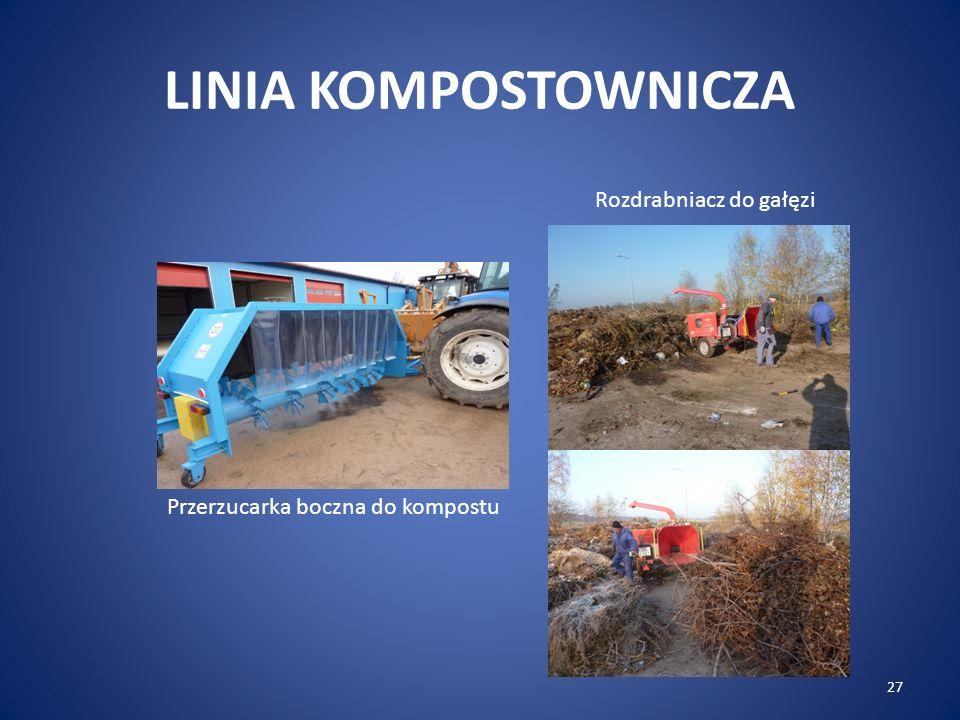 27 LINIA KOMPOSTOWNICZA Przerzucarka boczna do kompostu Rozdrabniacz do gałęzi