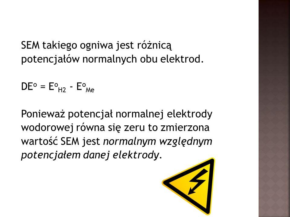 SEM takiego ogniwa jest różnicą potencjałów normalnych obu elektrod.