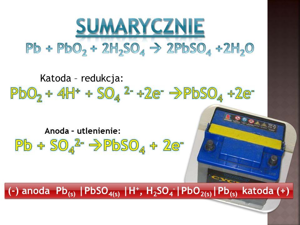 (-) anoda Pb (s) |PbSO 4(s) |H +, H 2 SO 4 - |PbO 2(s) |Pb (s) katoda (+)
