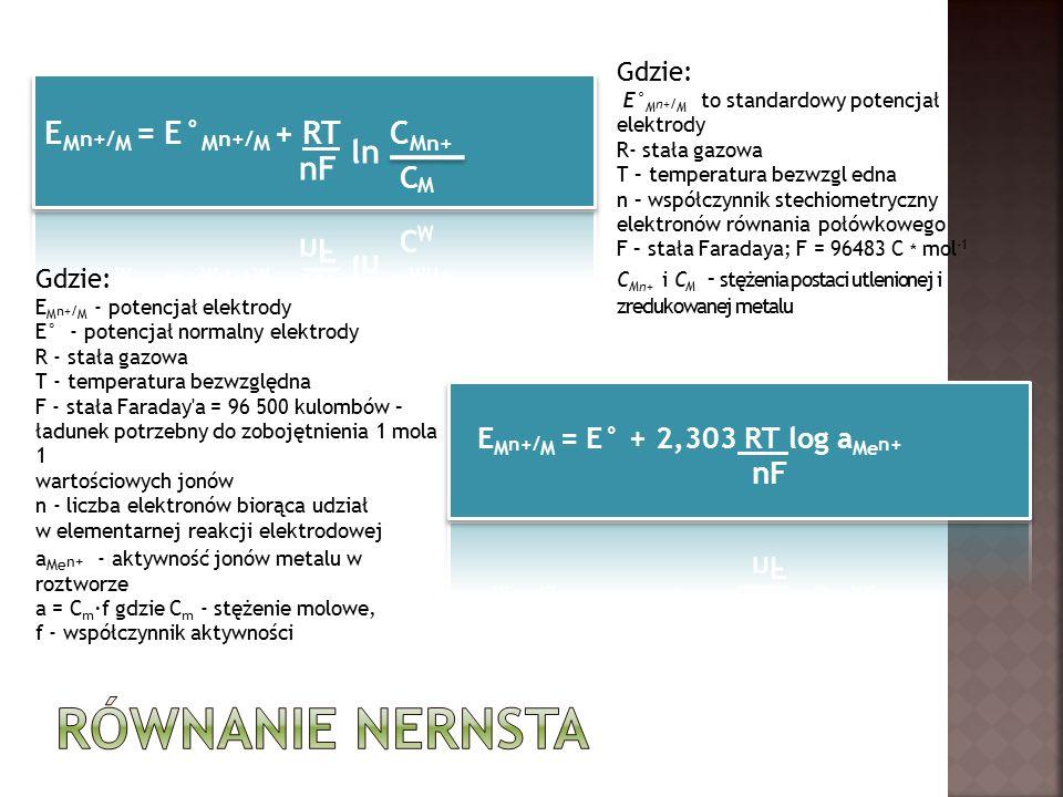 Gdzie: E° M n+/ M to standardowy potencjał elektrody R- stała gazowa T – temperatura bezwzgl edna n – współczynnik stechiometryczny elektronów równania połówkowego F – stała Faradaya; F = 96483 C * mol -1 C Mn+ i C M - stężenia postaci utlenionej i zredukowanej metalu Gdzie: E M n+/ M - potencjał elektrody E° - potencjał normalny elektrody R - stała gazowa T - temperatura bezwzględna F - stała Faraday a = 96 500 kulombów – ładunek potrzebny do zobojętnienia 1 mola 1 wartościowych jonów n - liczba elektronów biorąca udział w elementarnej reakcji elektrodowej a Me n+ - aktywność jonów metalu w roztworze a = C m ·f gdzie C m - stężenie molowe, f - współczynnik aktywności