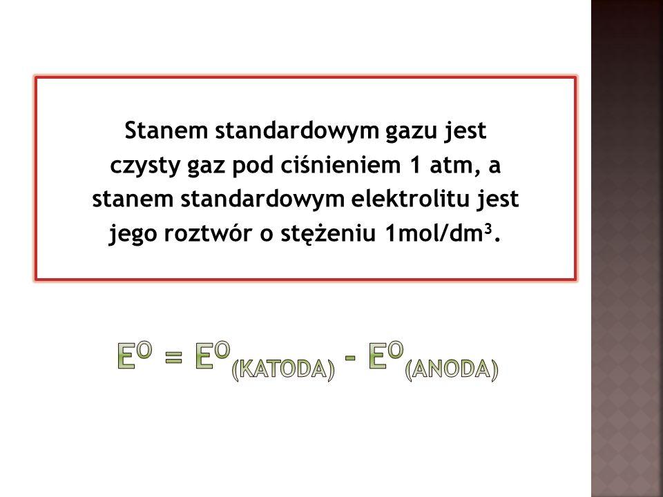 Stanem standardowym gazu jest czysty gaz pod ciśnieniem 1 atm, a stanem standardowym elektrolitu jest jego roztwór o stężeniu 1mol/dm 3.