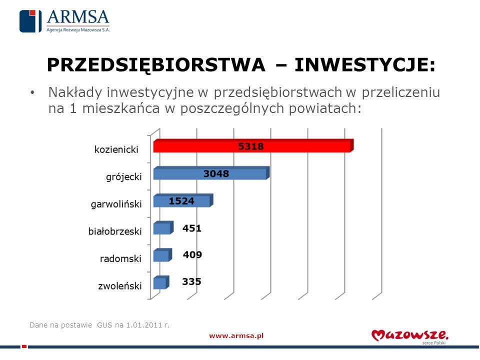 PRZEDSIĘBIORSTWA – INWESTYCJE: Nakłady inwestycyjne w przedsiębiorstwach w przeliczeniu na 1 mieszkańca w poszczególnych powiatach: Dane na postawie GUS na 1.01.2011 r.
