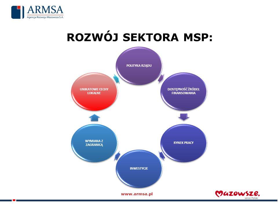 ROZWÓJ SEKTORA MSP: POLITYKA RZĄDU DOSTĘPNOŚĆ ŹRÓDEŁ FINANSOWANIA RYNEK PRACYINWESTYCJE WYMIANA Z ZAGRANICĄ UNIKATOWE CECHY LOKALNE www.armsa.pl