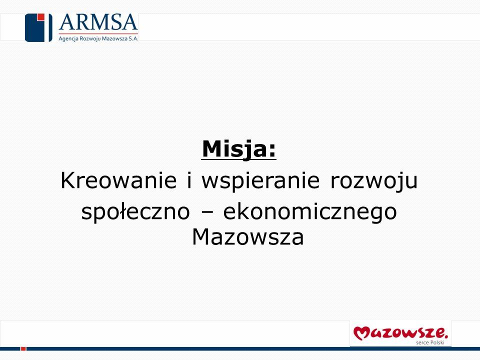 Misja: Kreowanie i wspieranie rozwoju społeczno – ekonomicznego Mazowsza