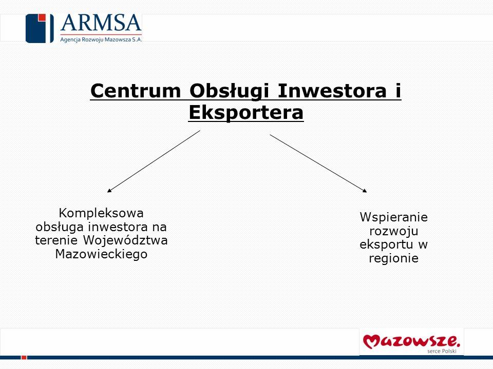 Centrum Obsługi Inwestora i Eksportera Kompleksowa obsługa inwestora na terenie Województwa Mazowieckiego Wspieranie rozwoju eksportu w regionie