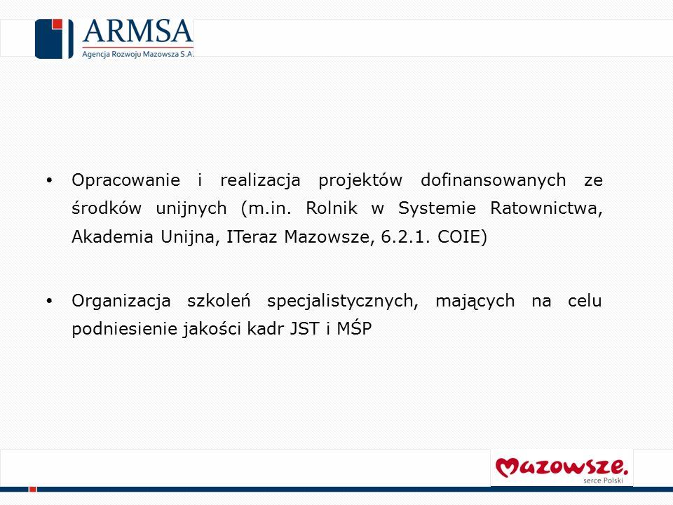 Grupy docelowe działań Agencji: Przedsiębiorstwa, ze szczególnym wskazaniem przedsiębiorstw mikro, małych i średnich Jednostki Samorządu Terytorialnego Inwestorzy krajowi i zagraniczni Organizacje pozarządowe Mieszkańcy Województwa Mazowieckiego