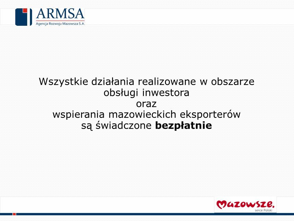 Szczególne działania COIE: Promocja atrakcyjności inwestycyjnej Mazowsza Przekazywanie informacji nt.