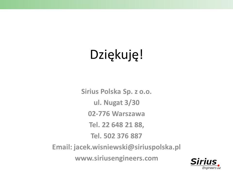 Dziękuję! Sirius Polska Sp. z o.o. ul. Nugat 3/30 02-776 Warszawa Tel. 22 648 21 88, Tel. 502 376 887 Email: jacek.wisniewski@siriuspolska.pl www.siri