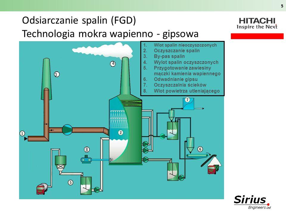 Odsiarczanie spalin (FGD) Technologia mokra wapienno - gipsowa 5 3 4 8 1.Wlot spalin nieoczyszczonych 2.Oczyszczanie spalin 3.By-pas spalin 4.Wylot sp