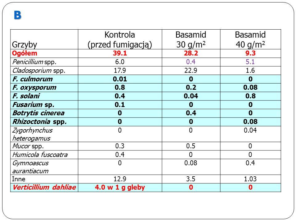 Grzyby Kontrola (przed fumigacją) Basamid 30 g/m 2 Basamid 40 g/m 2 Ogółem39.128.29.3 Penicillium spp.6.00.45.1 Cladosporium spp.17.922.91.6 F.