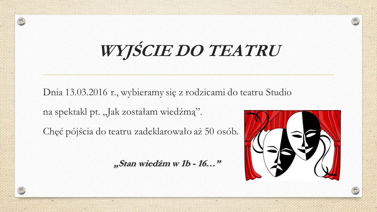 WYJŚCIE DO TEATRU Dnia 13.03.2016 r., wybieramy się z rodzicami do teatru Studio na spektakl pt.