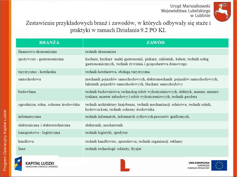 Zestawienie przykładowych branż i zawodów, w których odbywały się staże i praktyki w ramach Działania 9.2 PO KL BRANŻAZAWÓD finansowo-ekonomicznatechn