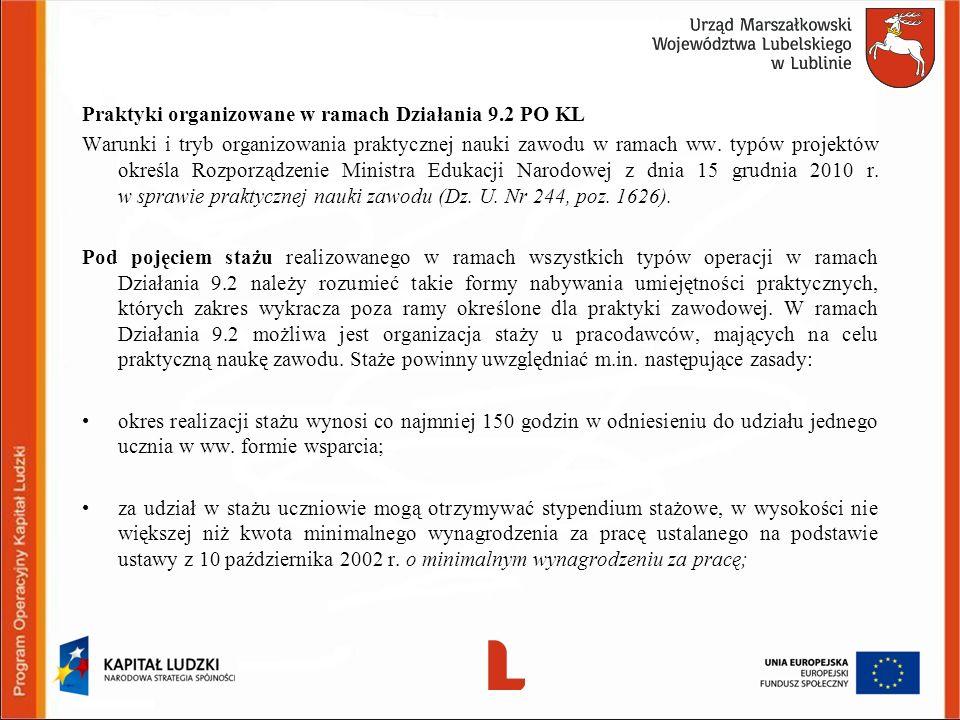 Praktyki organizowane w ramach Działania 9.2 PO KL Warunki i tryb organizowania praktycznej nauki zawodu w ramach ww. typów projektów określa Rozporzą