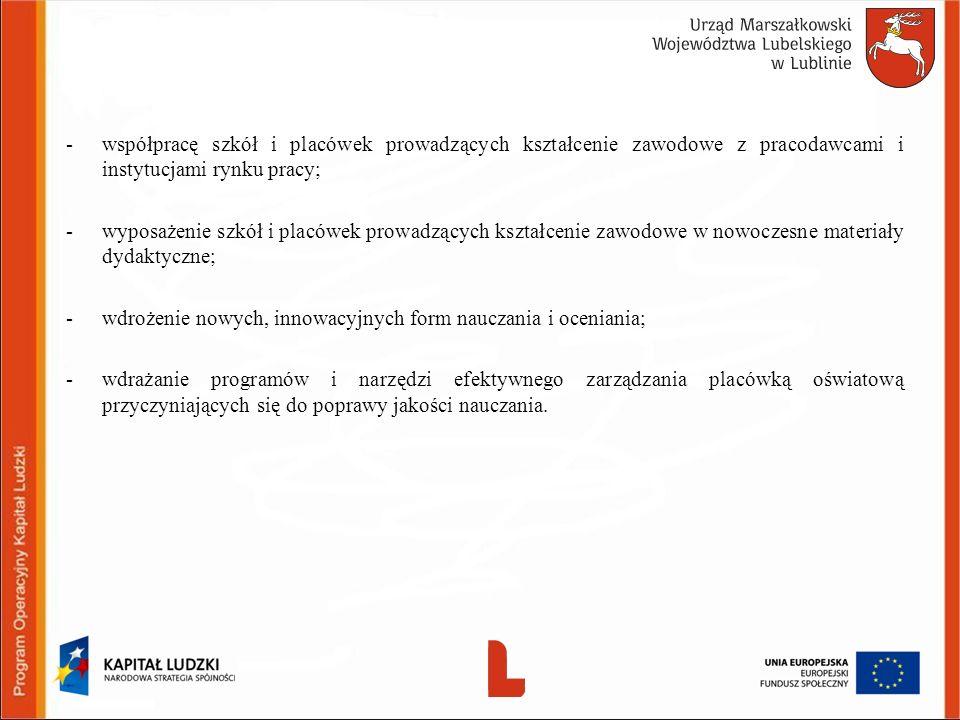 -współpracę szkół i placówek prowadzących kształcenie zawodowe z pracodawcami i instytucjami rynku pracy; -wyposażenie szkół i placówek prowadzących k