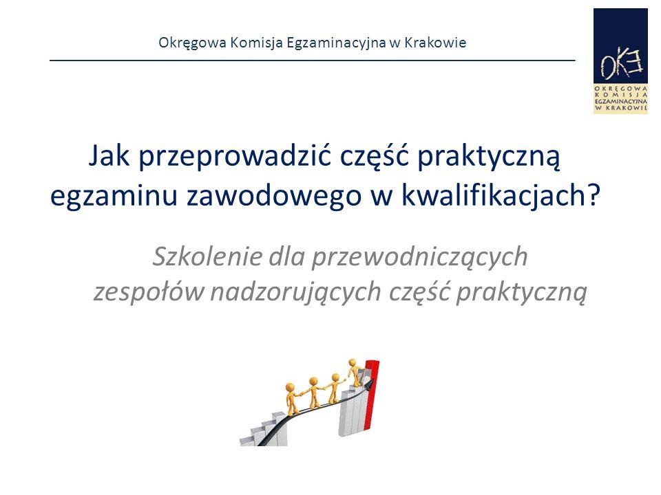 Okręgowa Komisja Egzaminacyjna w Krakowie Zdający podczas egzaminu  pracują samodzielnie przestrzegając przepisów bhp  korzystają wyłącznie z materiałów, sprzętu znajdujących się na stanowisku egzaminacyjnym  nie porozumiewają się między sobą  przez podniesienie ręki zgłaszają między innymi:  rezygnację ze zdawania egzaminu lub wcześniejsze zakończenie wykonania zadania,  gotowość do oceny rezultatu pośredniego, jeżeli taki rezultat występuje w zadaniu egzaminacyjnym,  gotowość do podłączenia zasilania, wykonania określonych w zadaniu działań, itp.